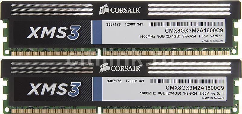 Модуль памяти CORSAIR XMS3 CMX8GX3M2A1600C9 DDR3 -  2x 4Гб 1600, DIMM,  Ret