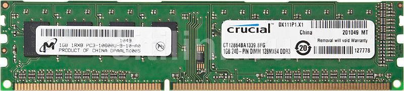 Модуль памяти CRUCIAL DDR3 -  1Гб 1333, DIMM,  OEM