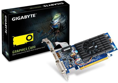 Видеокарта GIGABYTE GeForce 210,  512Мб, GDDR2, Low Profile,  Ret [gv-n210d2-512i]