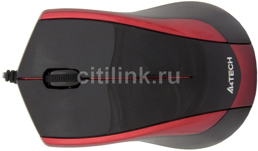 Мышь A4 OP-400-2 оптическая проводная USB, черный и красный
