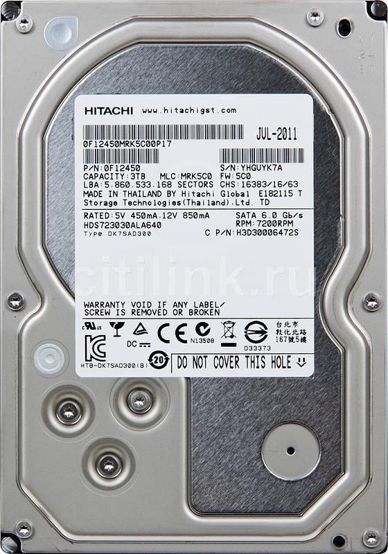 Жесткий диск HITACHI Deskstar 7K3000 HDS723030ALA640,  3Тб,  HDD,  SATA III,  3.5