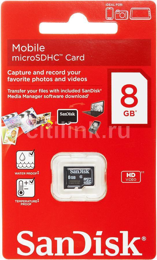 Карта памяти microSDHC SANDISK Mobile 8 ГБ, Class 4, SDSDQM-008G-B35,  1 шт.
