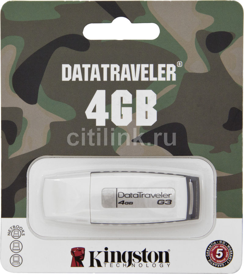 Флешка USB KINGSTON DataTraveler Generation 3 4Гб, USB2.0, белый и серый [kc-u324g-2ur]