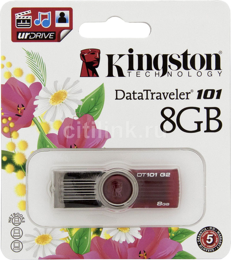 Флешка USB KINGSTON DataTraveler 101 G2 8Гб, USB2.0, красный [kc-u308g-2us]