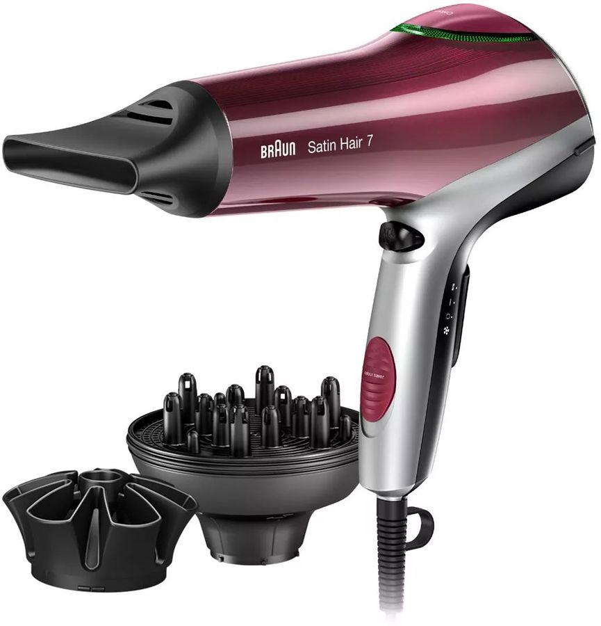 Фен BRAUN HD770, 2000Вт, красный и черный