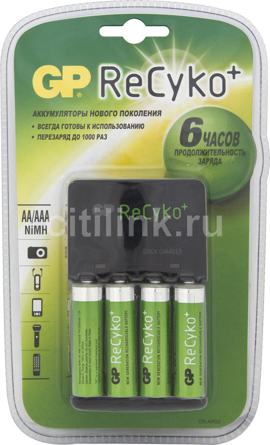 Аккумулятор + зарядное устройство GP Recyko AR03-BC4,  4 шт. AA,  2050мAч