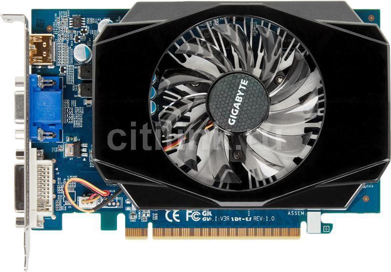 Видеокарта GIGABYTE GeForce GT 440,  1Гб, DDR3, OC,  Ret [gv-n440d3-1gi]