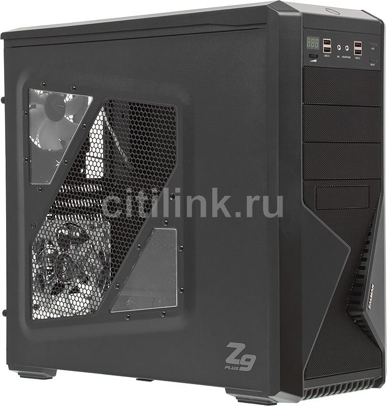 Корпус ATX ZALMAN Z9 Plus, Midi-Tower, без БП, черный