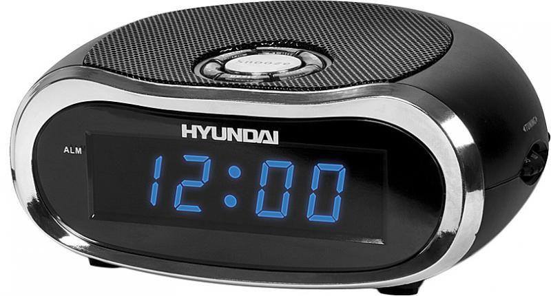 Радиобудильник HYUNDAI H-1528, синяя подсветка,  черный
