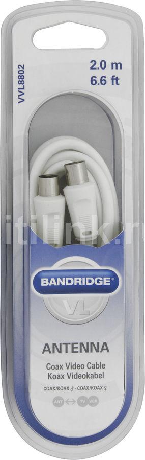 Кабель-удлинитель антенный BANDRIDGE VVL8802,  Coax (m)  -  Coax (f) ,  2м, белый