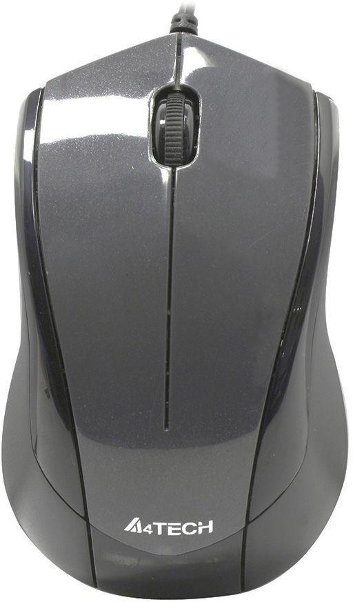 Мышь A4 V-Track Padless N-400-1, оптическая, проводная, USB, серый
