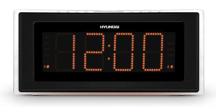 Радиобудильник HYUNDAI H-1541, оранжевая подсветка,  серебристый