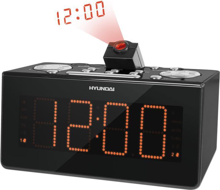 Радиобудильник HYUNDAI H-1542, оранжевая подсветка,  черный