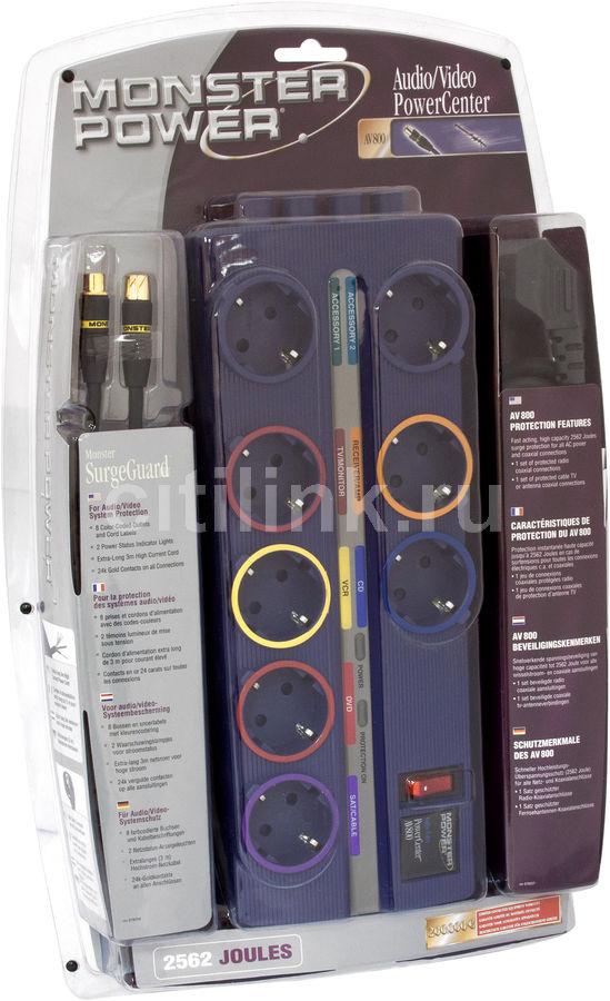 Сетевой фильтр MONSTER AV 800 DE, 3м, фиолетовый [109453]
