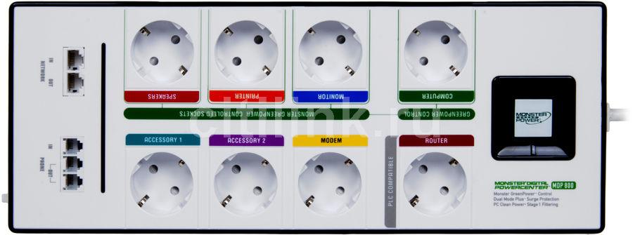 Сетевой фильтр MONSTER MDP 800G DE, 2.5м, белый [121679]