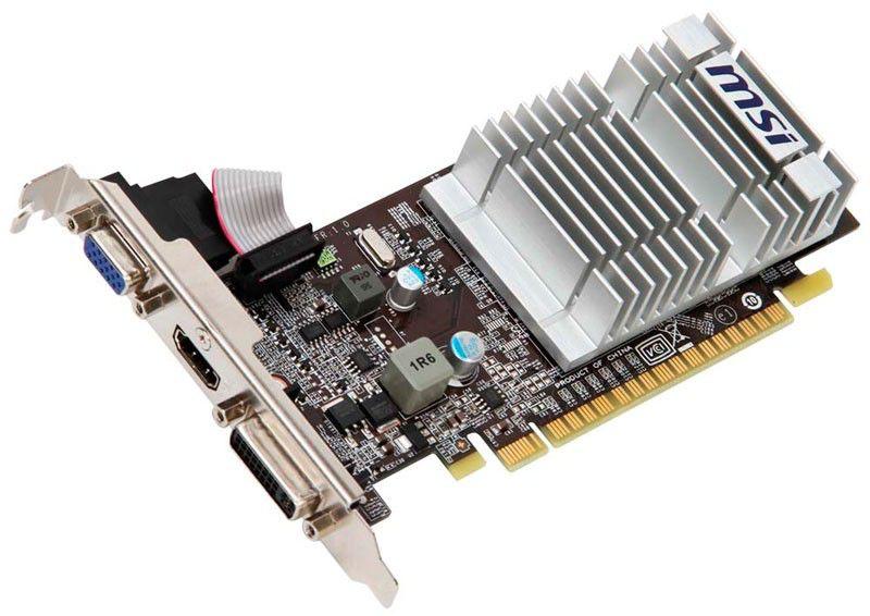 Видеокарта MSI GeForce 210,  512Мб, DDR3, Low Profile,  Ret [n210-md512d3h/lp]