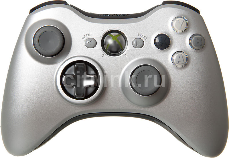 Беспроводной контроллер MICROSOFT Xbox 360, серебристый [qff-00006]