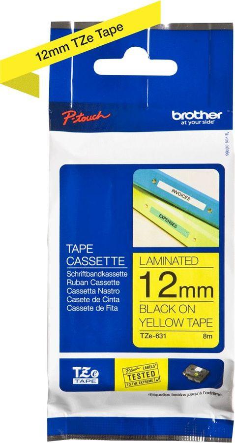 Картридж BROTHER TZE631, 12мм,  черный шрифт, желтый фон,  8м