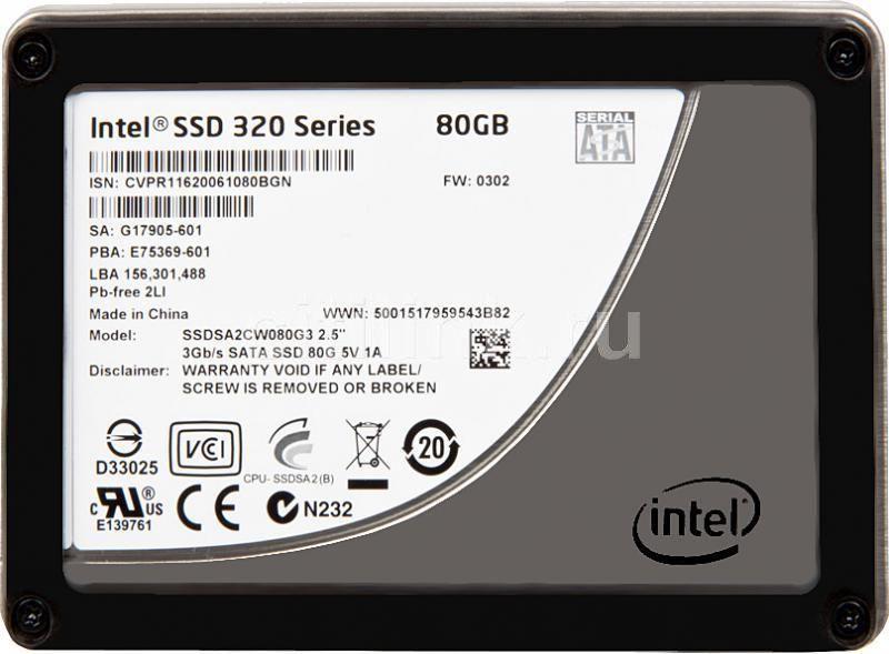 Накопитель SSD INTEL 320 Series SSDSA2CW080G3K5 80Гб, 2.5