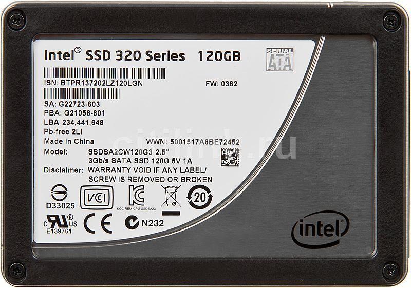 Накопитель SSD INTEL 320 Series SSDSA2CW120G3K5 120Гб, 2.5