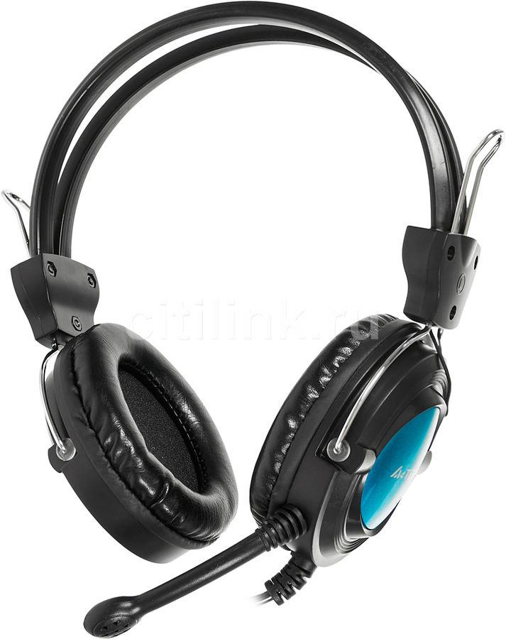 Наушники с микрофоном A4 HS-19,  накладные, черный  / голубой [hs-19-3]