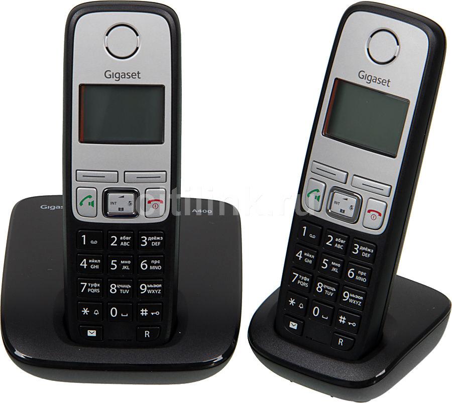 Радиотелефон GIGASET A400 Duo,  черный