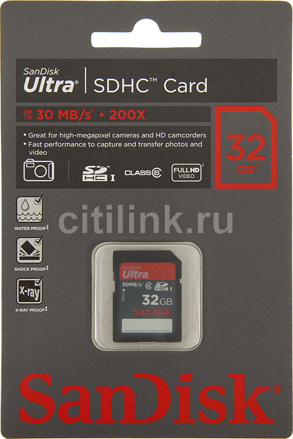 Карта памяти SDHC SANDISK Ultra 32 ГБ, Class 6, SDSDH-032G-U46,  1 шт.