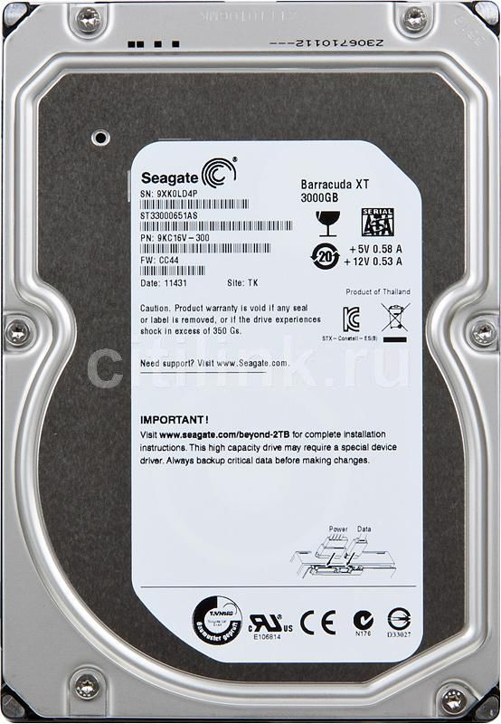 Жесткий диск SEAGATE Barracuda XT ST33000651AS,  3Тб,  HDD,  SATA III,  3.5""