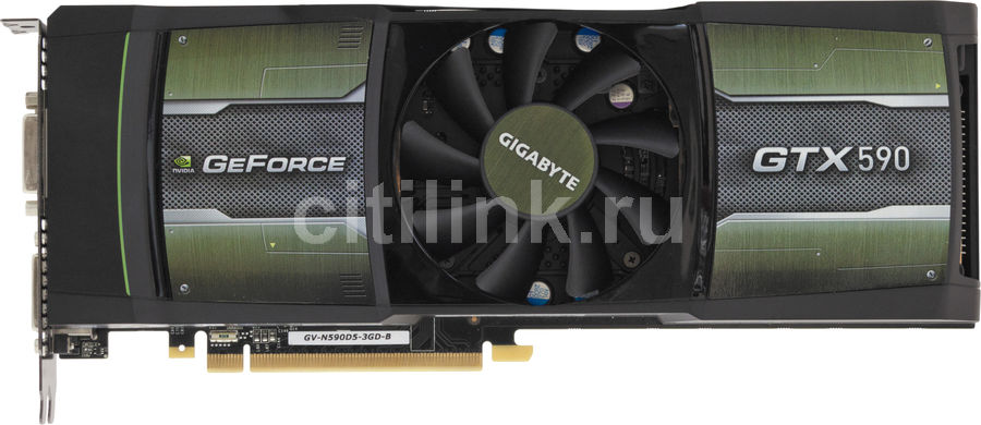 Видеокарта GIGABYTE GeForce GTX 590, GV-N590D5-3GD-B,  3Гб, GDDR5, Ret