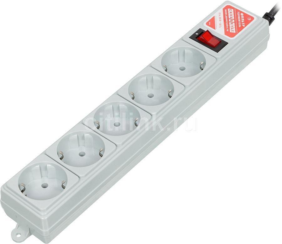 Сетевой фильтр POWERCUBE SPG-B-6Ext, 1.9м, серый