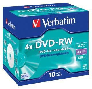 Оптический диск DVD-RW VERBATIM 4.7Гб 4x, 1шт., 43486, jewel case