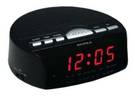 Радиобудильник SUPRA SA-26FM, красная подсветка,  черный