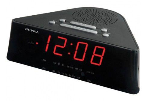 Радиобудильник SUPRA SA-12FM, красная подсветка,  черный