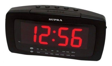 Радиобудильник SUPRA SA-28FM, красная подсветка,  черный