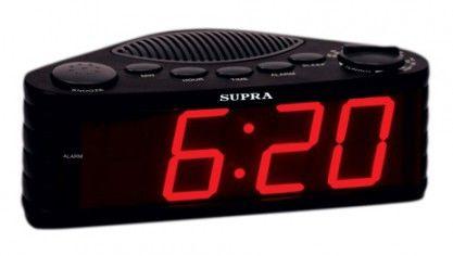 Радиобудильник SUPRA SA-30FM, синяя подсветка,  черный