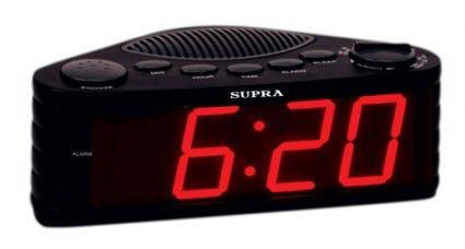 Радиобудильник SUPRA SA-30FM, красная подсветка,  черный