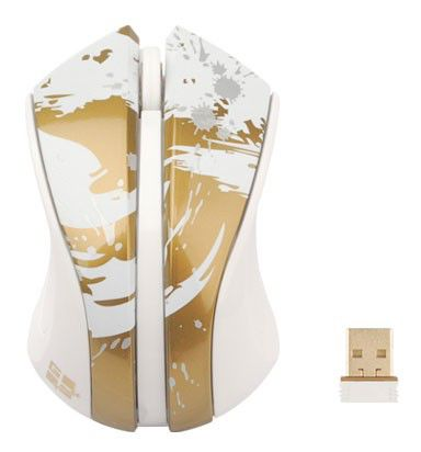Мышь G-CUBE Paint Splash G9PS-310G оптическая беспроводная USB, белый и золотой