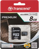 Карта памяти microSDHC TRANSCEND 8 ГБ, Class 10, TS8GUSDHC10,  1 шт., переходник SD вид 1