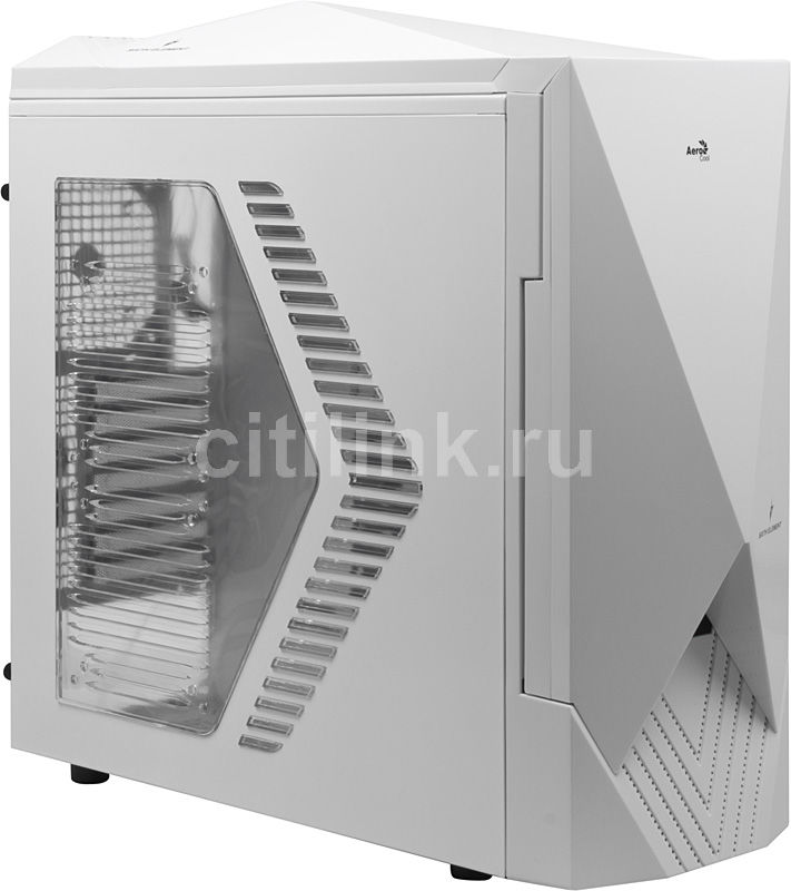 Корпус ATX AEROCOOL sixth element, Midi-Tower, без БП,  белый
