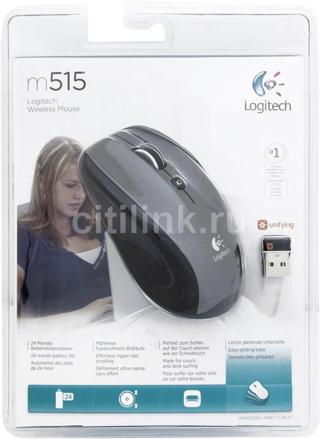 Мышь LOGITECH M515 оптическая беспроводная USB, серый и черный [910-001844]