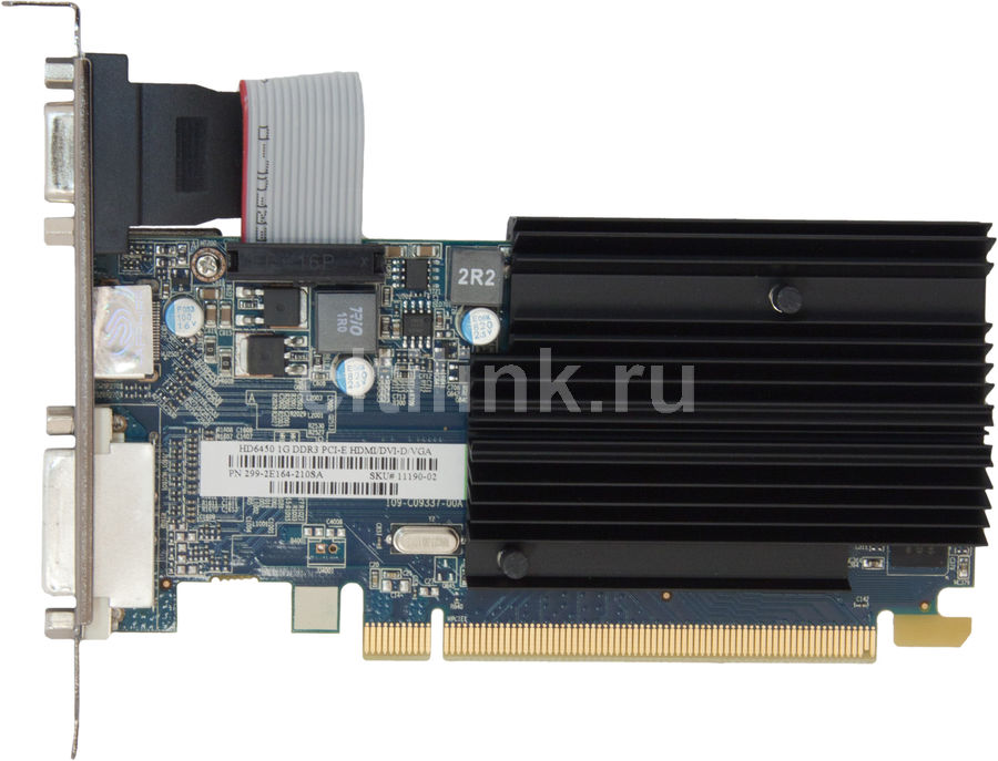 Видеокарта SAPPHIRE Radeon HD 6450, 11190-02-10G, 1Гб, DDR3, Low Profile, oem radeon hd 7990 в екатеринбурге