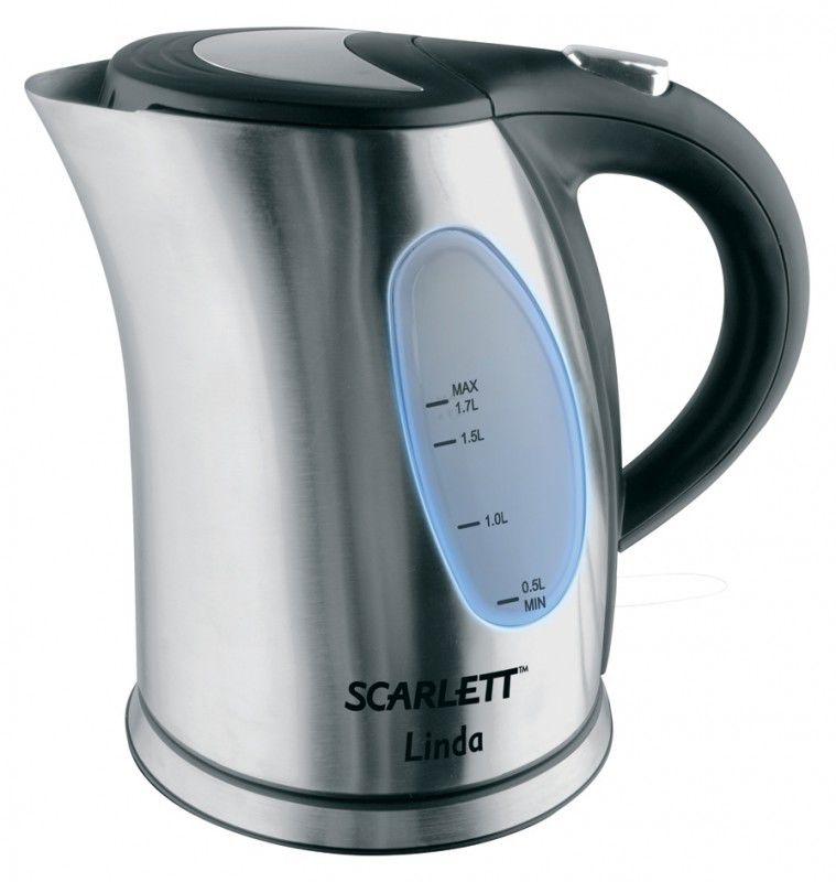 Чайник электрический SCARLETT SC-1225, 2200Вт, серебристый