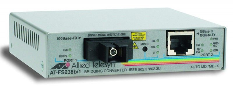Медиаконвертер Allied Telesis AT-FS238B/1-60 Single-fiber 10/100M bridging converter with 1550Tx/131Медиаконвертеры<br><br>