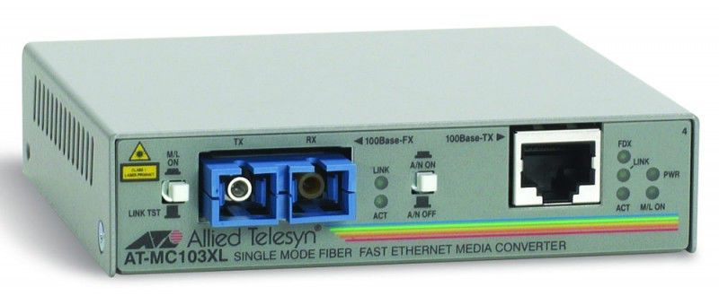 Медиаконвертер Allied Telesis AT-MC103XL-60 100TX RJ-45 to 100FX single-mode fiber SC медиаконвертер allied telesyn at mc103xl 60 100basetx to 100basefx медиа конвертер
