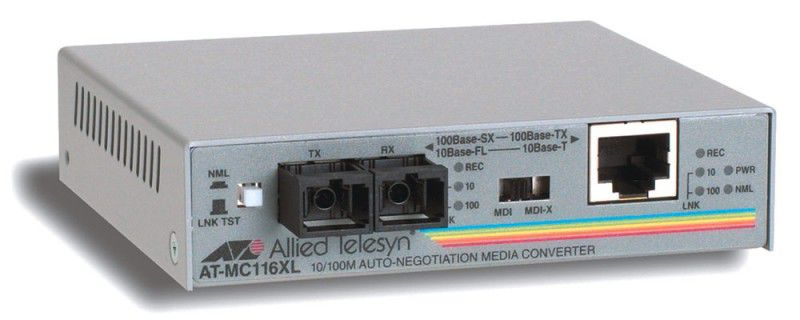Медиаконвертер Allied Telesis (AT-MC116XL) 10/100TX to 10FL/100SX SC