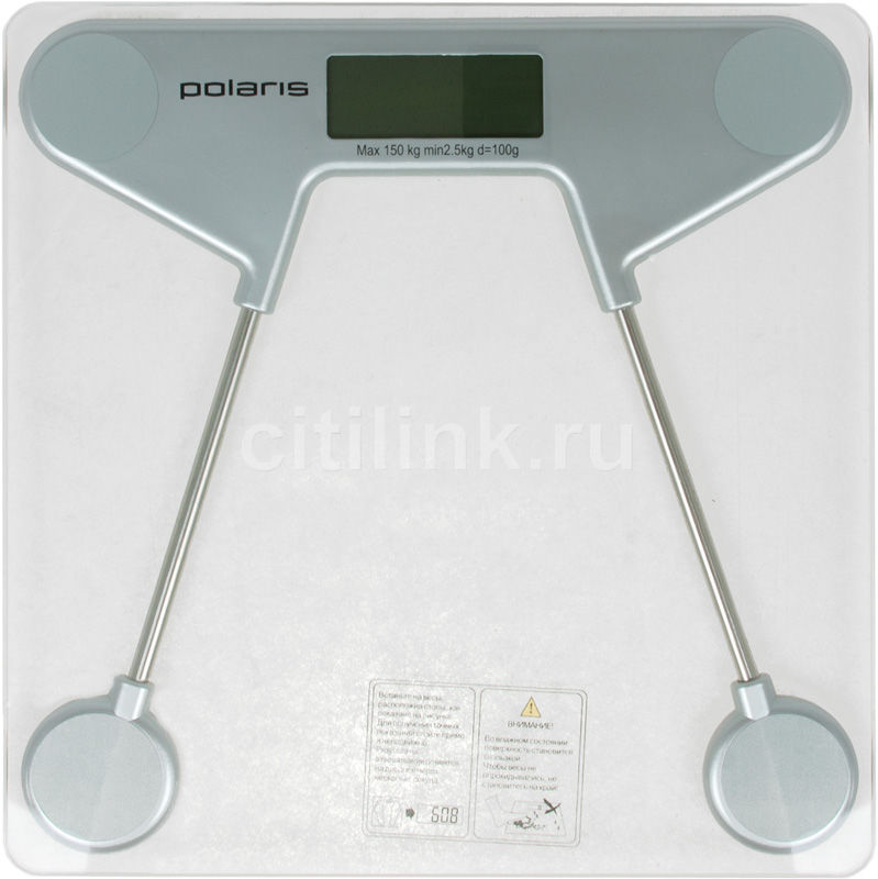 Весы POLARIS PWS1521DGR, до 150кг, цвет: серебристый