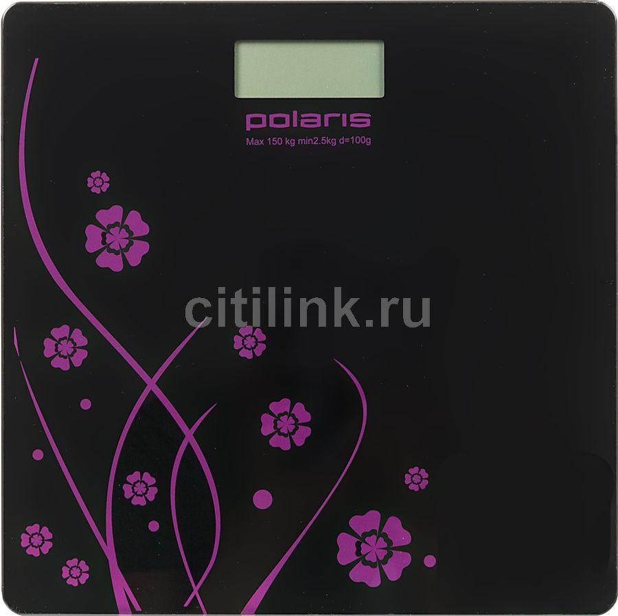 Напольные весы POLARIS PWS1523DG, до 150кг, цвет: черный/рисунок