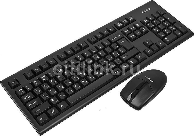 Комплект (клавиатура+мышь) A4 3100N, USB, беспроводной, черный