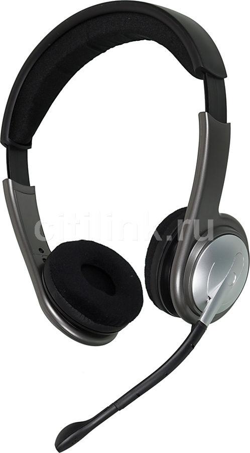 Наушники с микрофоном OKLICK HS-M135V,  накладные, серебристый  / серый
