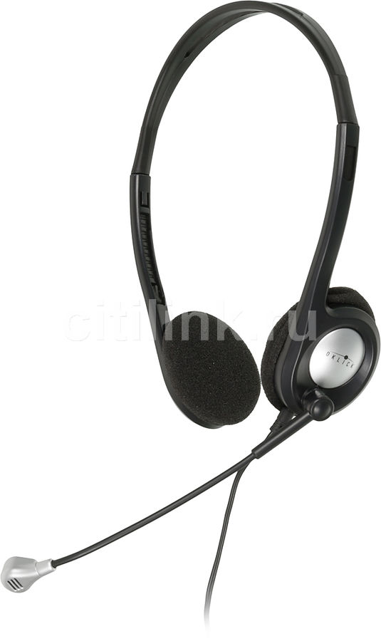 Наушники с микрофоном OKLICK HS-M142V,  накладные, черный  / серебристый